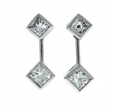18ct White Gold Earrings - Diamond Drops 1.45ct