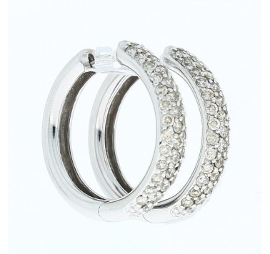 14ct White Gold Diamond Hoop Earrings 1ct