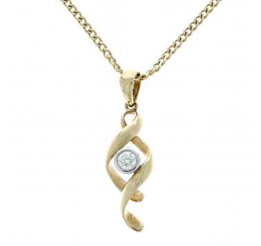 9ct Gold Diamond Swirl Pendant & Chain