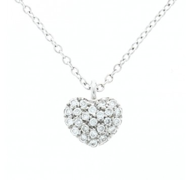 18ct Pave Set Diamond Heart Pendant & Chain