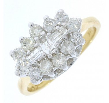 Pre-Owned 18ct Gold Fancy Oblong Cluster Ring 1ct