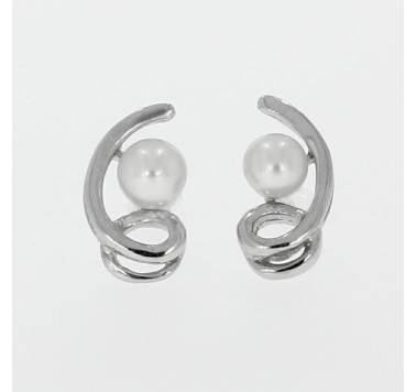 925 Silver Ribbon Twist Earrings with Cream Pearl