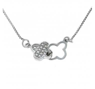 Silver 925 Double Flower necklace with Cubic Zirconia