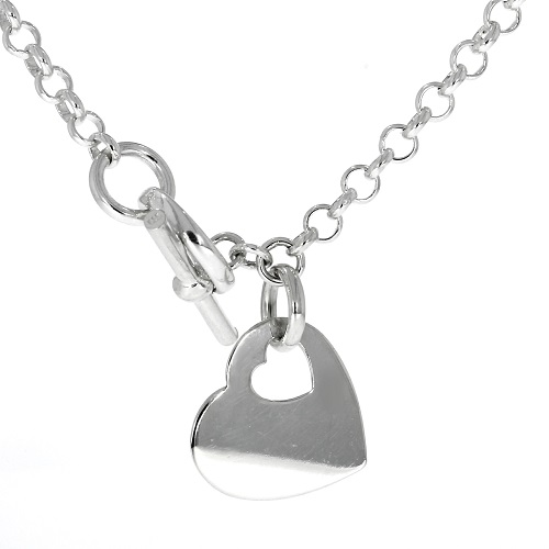 b6bc5a61a 925 Silver Belcher Necklace with T-Bar & Heart
